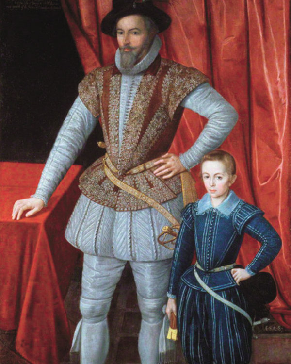 Sir Walter Raleigh & his son